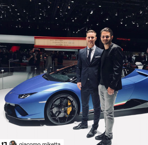 Miketta with FIA Formula one race car driver for AudiSport Daniel Abt. Off his recent win in Mexico in front of Lamborghini's new Hurracan Performante Spyde  r at the Geneva Car Show.
