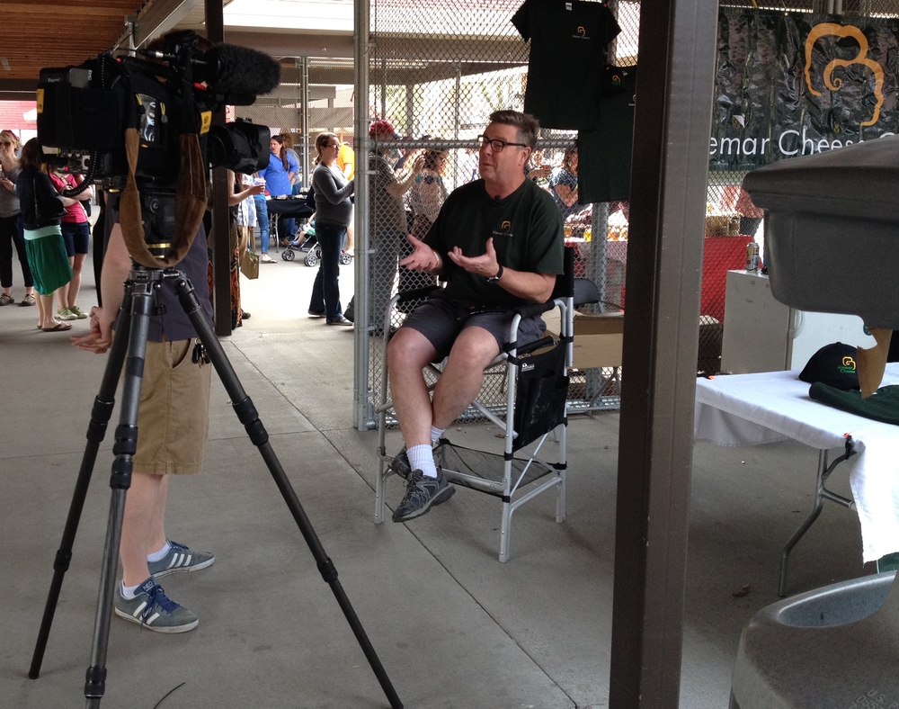 Keith being interviewed at the 2014 Minnesota Cheese Festival, St. Paul.