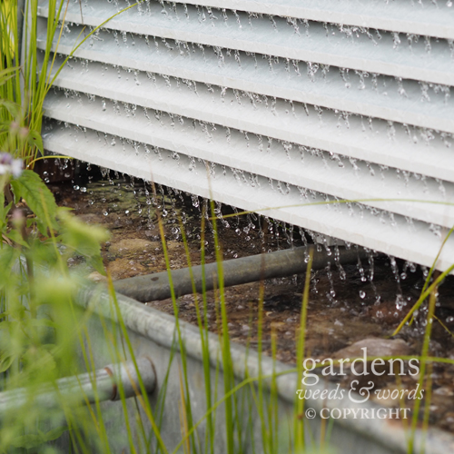 Detail from the Working Wetlands garden by Jeni Cairns, showing the steel louvres which filter rainwater before it passes into a secondary gravel filtering system.