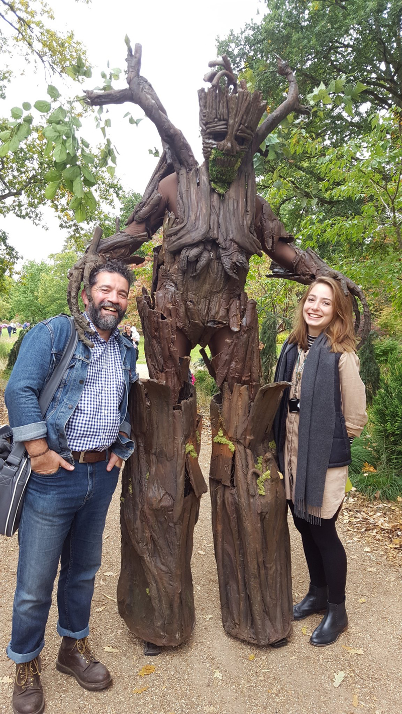 "Sue  put this best in her tweet. ""@aimee_pluts and I bumped into some terrifyingly menacing beardy fellow today...And that guy dressed as a tree"""