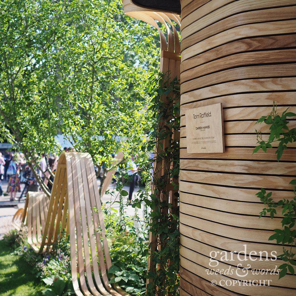 Tom Raffield's trade stand showcasing his beautiful steam bent woodland products at RHS Chelsea Flower Show 2018