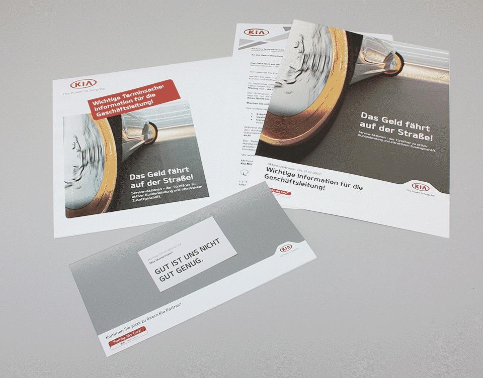 """Ausführliche Händlerinformation zur Offensive """"Kia Serviceaktionen"""" – für mehr Kundenzufriedenheit, erhöhte Kundenbindung und zur Generierung von Zusatzgeschäften.  Plus: Aktivierendes Kundenmailing – mit klarem Qualitätsversprechen und persönlicher Ansprache"""
