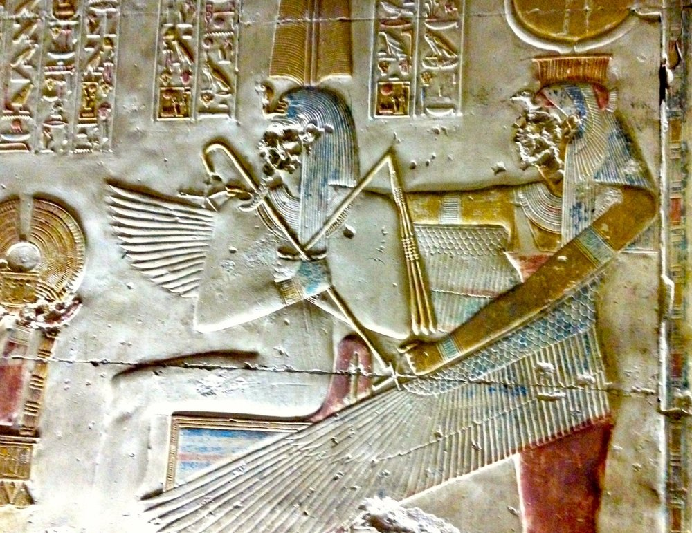 Isis wings protecting Pharaoh Seti I