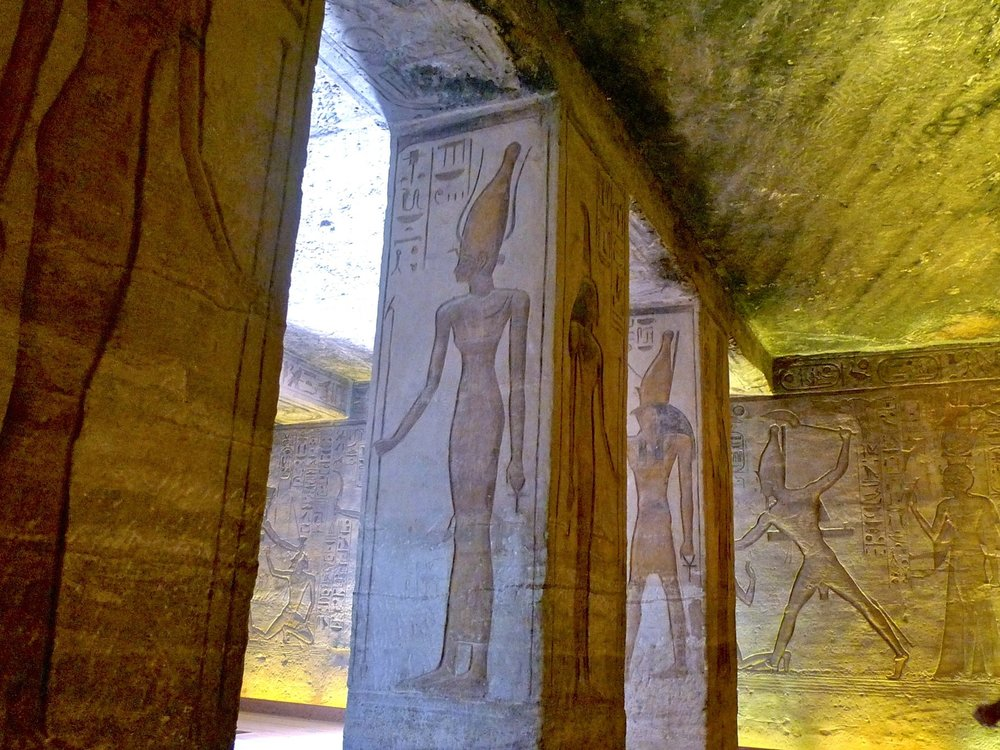 Reliefs inside Temple of Hathor