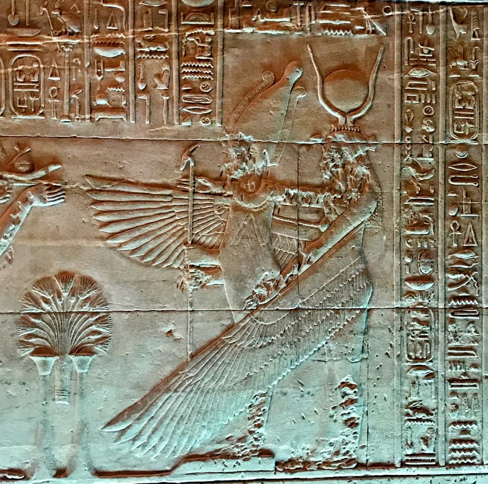 Hathor protecting Pharaoh with her wings