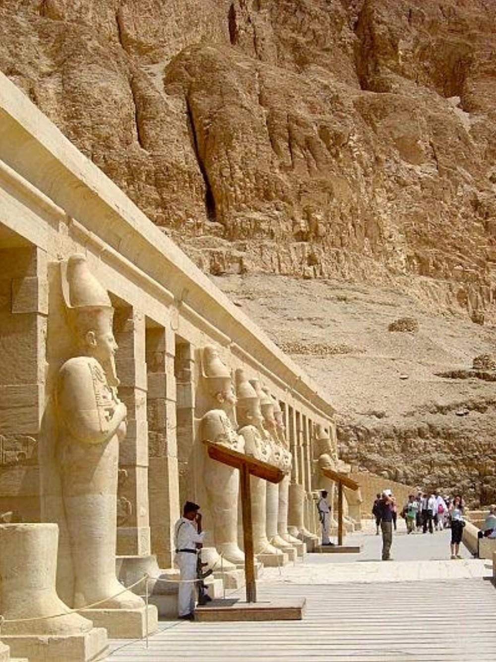 Hatshepsut statues in front of Birth Colonnade