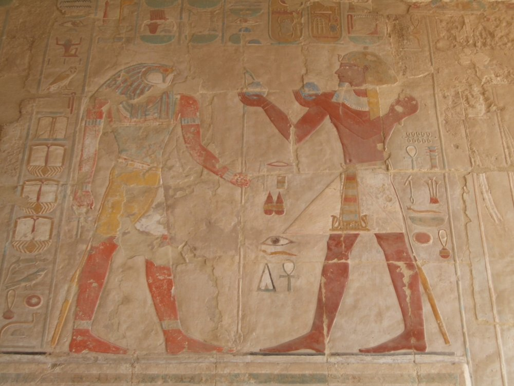 Horus and the Pharaoh in Anubis Temple