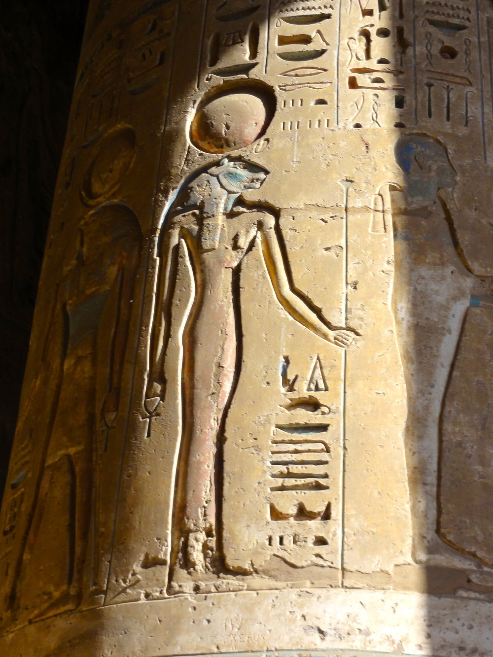 Sekhmet and Ptah reliefs on the columns
