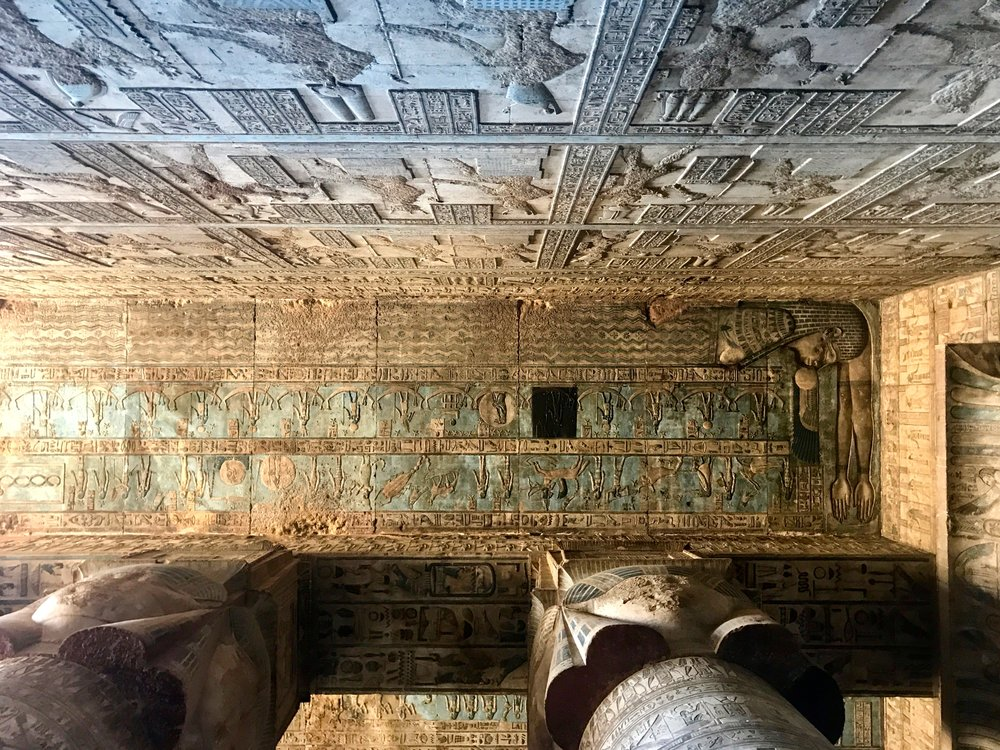 Relief of goddess Nut (mother of Hathor) on the ceiling of the Hathor Temple