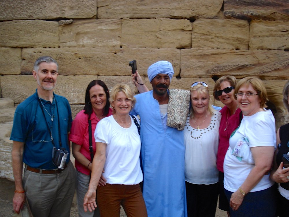 November 2010 Group with custodian at Sacred Lake, Dendera