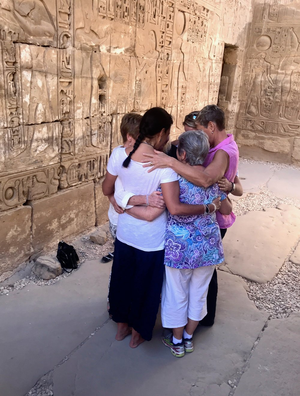 October 2017 Group Hug in Temple of Khonsu at Karnak