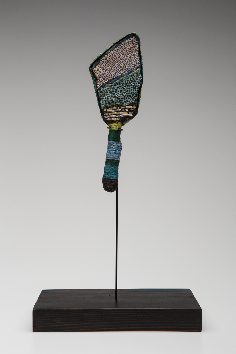 Prayer Paddle: To Understand The Patterns  mixed media, 11.75 by 5 inches, 2007-2014.