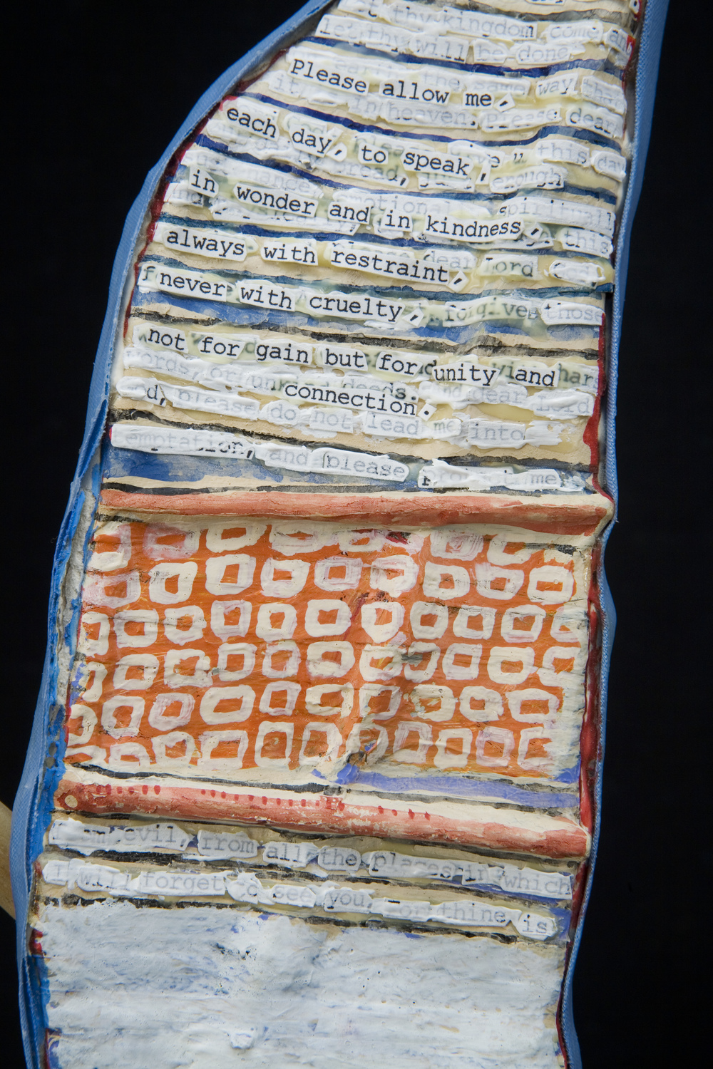 Prayer Paddle: To Speak In Wonder and In Kindness (detail) , mixed media, 16 by 3 inches, 2007-2014.