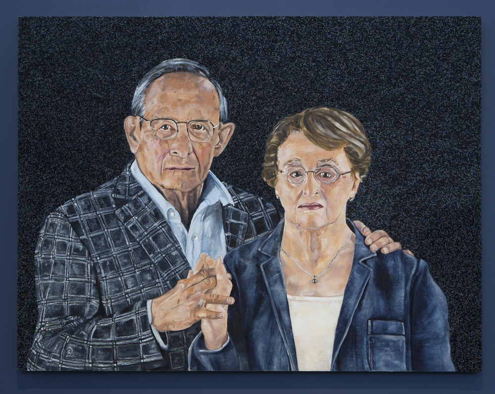 Icons From A Broken World: Dr. David Jacobs and Dr. Judy Jacobs, oil paint, encaustic and glass beads on true gesso panel, 60 inches by 46 inches, 2014.