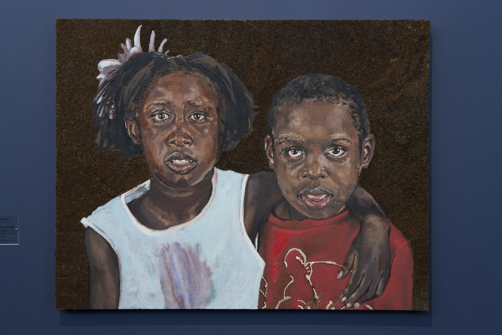 Icons From A Broken World:  Akon and Akuei Akuei , oil paint, encaustic and glass beads on true gesso panel, 30 inches by 34 inches, 2014.