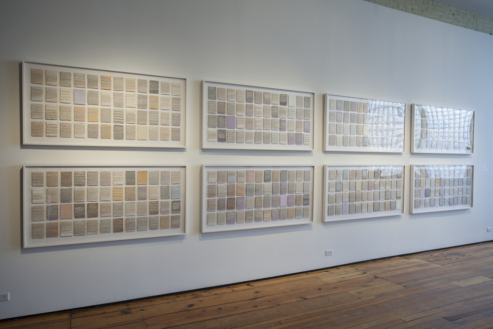 What Was Beautiful,  (installation view, Sherry Leedy Contemporary Art), mixed media, 8 framed works, 24 inches by 48 inches each, 2007-2014.