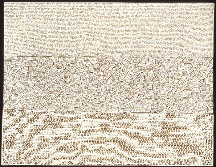 Three In One , stitching and ink on paper, 11 in x 8.5 in, 1998.