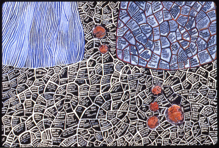 Detail from  ¨Blackboard¨ , watercolor on paper with fabric and stitching, 1997.