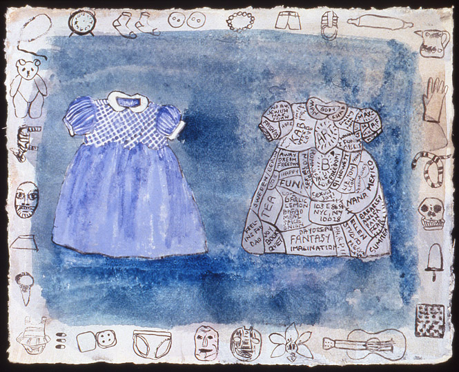 ¨Study For two Dresses¨ , watercolor on paper, 5.5 in x 7 in, 1996.