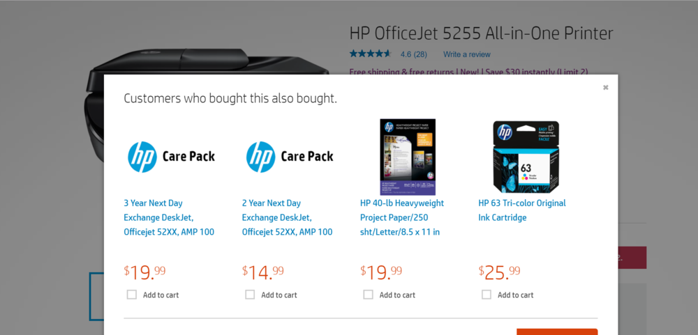 Screenshot from HP.com after a customer puts a printer into her cart.