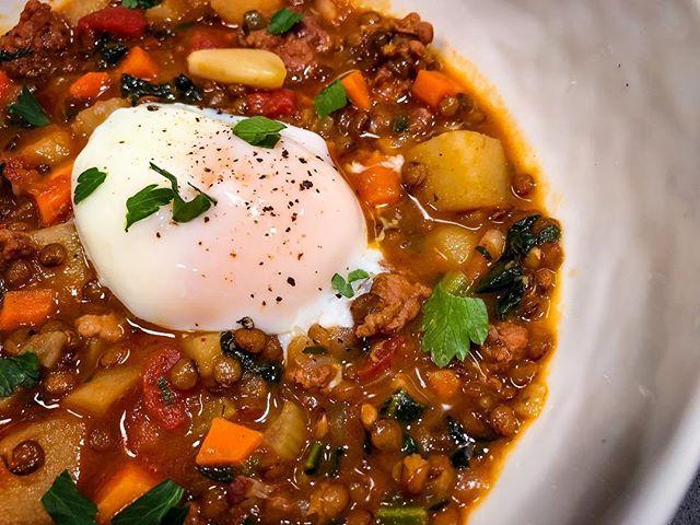Kid's menu.  #chorizo #lentils #sousvide #egg