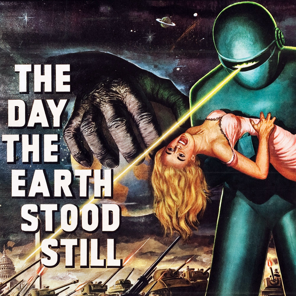 THE DAY THE EARTH STOOD STILL 3-SHEET 41X79 ON LINEN
