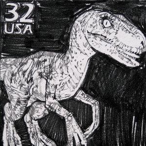 Jurassic Park USPS Velociraptor Comic Art