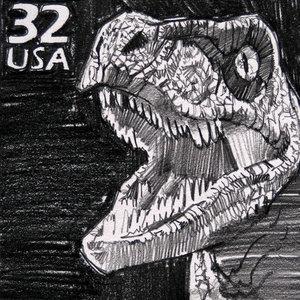 Jurassic Park USPS Velociraptor Closeup Comic Art