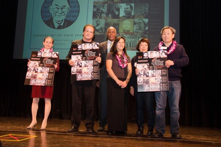 Race in the Courts Honorees:  Alisa J Kim , niece of Mamie Tape, David Thind, son of Bhagat Singh Thind, emcee Danny Glover, Sandra Wong, Maureen Wong and Norman Wong, relatives of Wong Kim Ark.