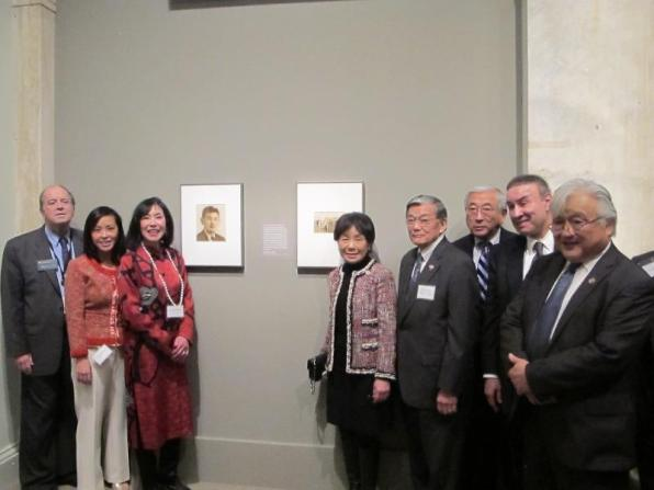 From left to right: National Portrait Gallery director Martin Sullivan, Korematsu Institute director Ling Woo Liu, Korematsu Institute co-founder Karen Korematsu, Congresswoman Doris Matsui, former US Secretary of Transportation Norman Mineta, JACL National executive director Floyd Mori, GPhA CEO and former Leadership Conference on Civil Rights executive director Ralph Neas, Congressman Mike Honda. Photo courtesy of JACL.