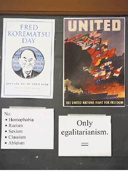 Posters and signs in ethnic studies history classes.