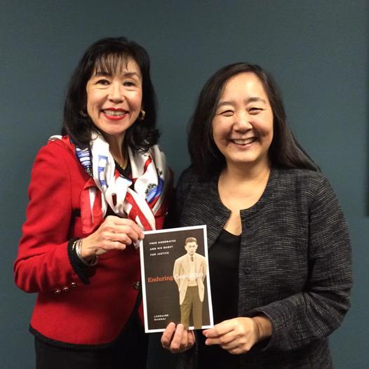 Lorraine Bannai (right) with Karen Korematsu, Fred Korematsu's daughter.