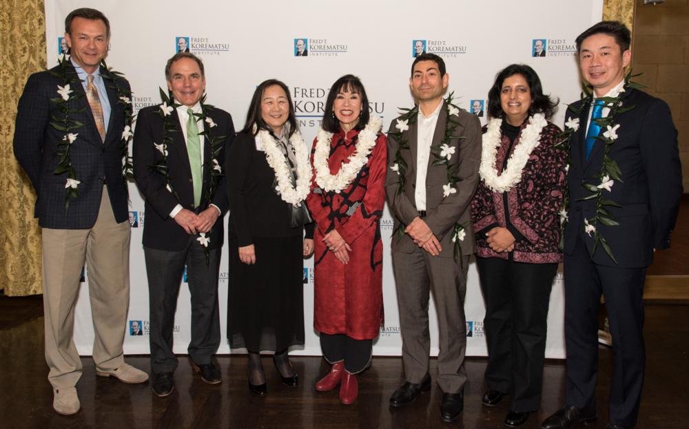 2016 Fred Korematsu Day Speakers: John Sasaki, John Diaz, Lorraine Bannai, Karen Korematsu, Justice Tino Cuéllar, Farhana Khera, and Grande Lum.