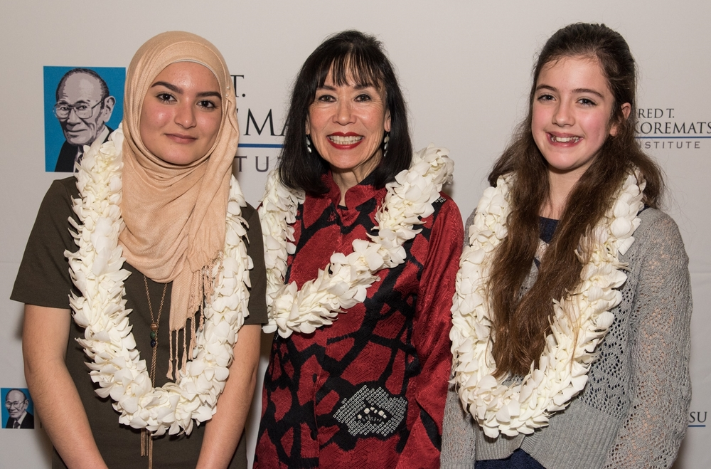Fred T. Korematsu Middle School Speech Winners: Madeeha Khan and Vivien Wallis with Karen Korematsu.