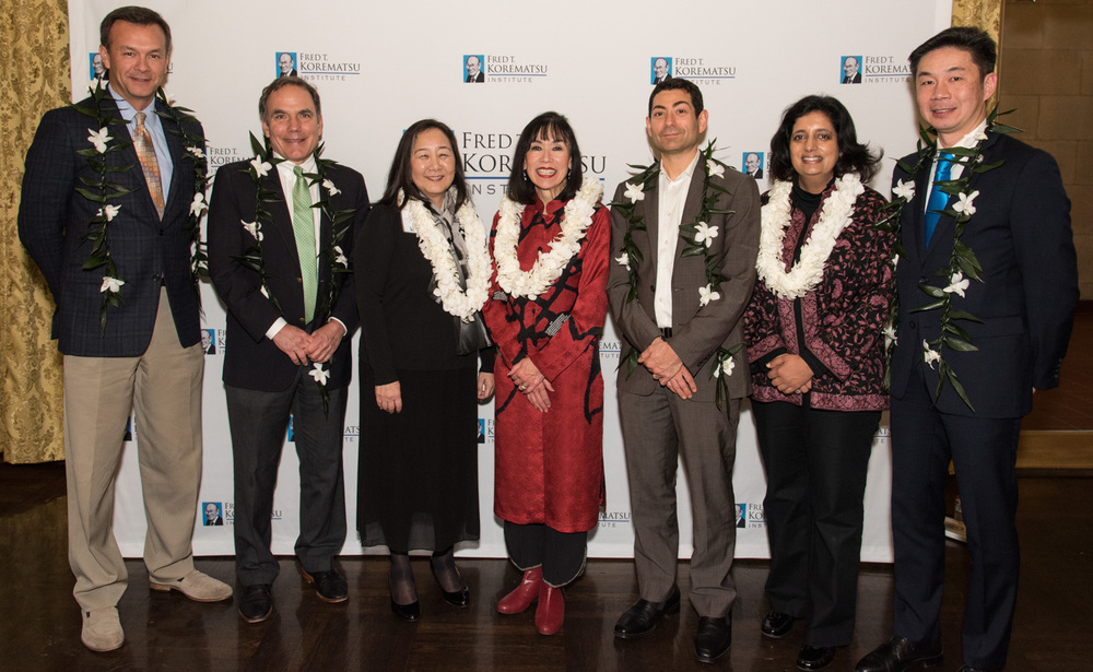 Fred Korematsu Day 2016  speakers, from left, John Sasaki, John Diaz, Lorraine Bannai, Karen Korematsu, Justice Tino Cuéllar, Farhana Khera and Grande Lum. (Contributed photo)