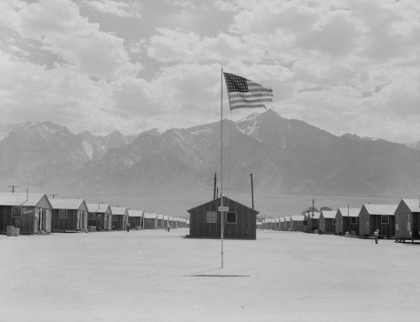 Barracks with American flag.