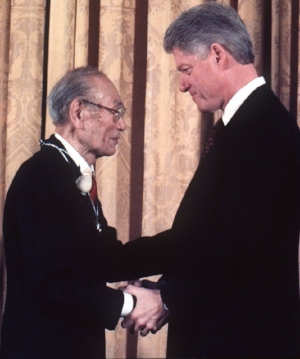 Fred Korematsu with President Clinton in 1998 when Clinton gave him the Presidential Medal of Freedom.