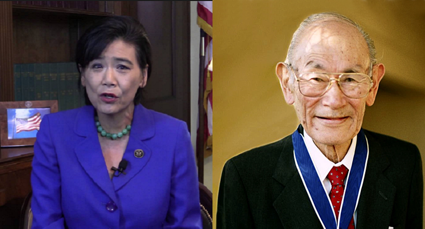 Rep Judy Chu (l) and Fred Korematsu (r)