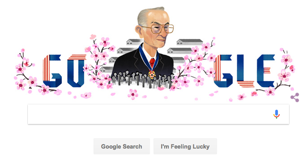Fred Korematsu Photo: Colorlines screenshot of Google's Doodle, taken January 30, 2017