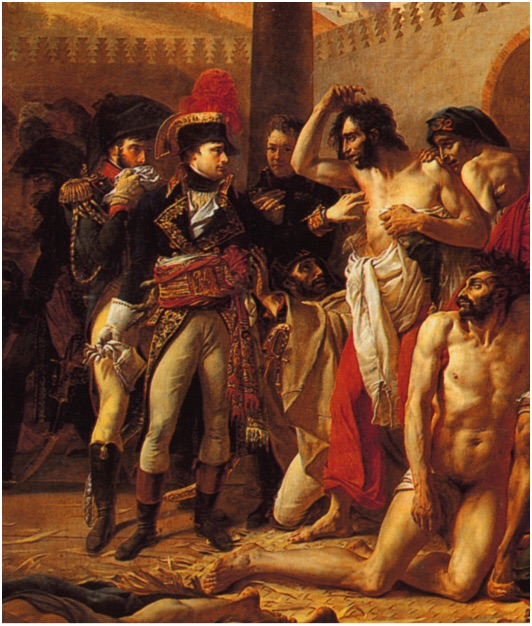 https://www.khanacademy.org/humanities/becoming-modern/romanticism/romanticism-in-france/v/gros-napoleon-bonaparte-visiting-the-pest-house-in-jaffa-1804      the link above is a very short clip of the history about this painting j