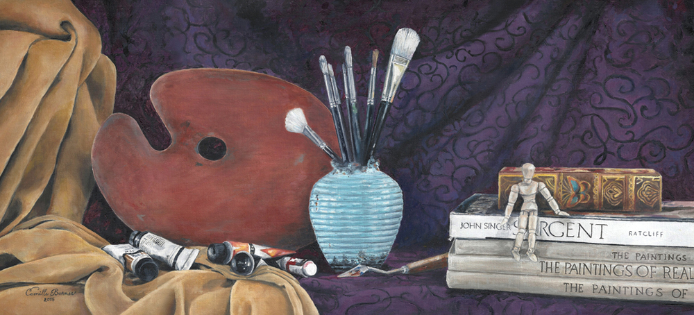 A simple still-life of common objects can reveal the artist's love of color and his passion for the medium he or she uses.  In my studio are many such objects, I see them almost everyday.  In appreciation of the art of creating art this painting came to be.