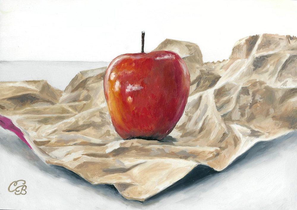 Bag an Apple  Oil on Panel