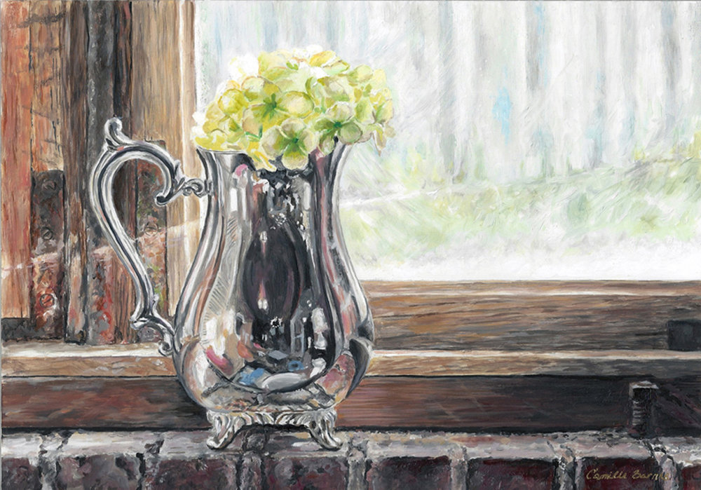 Silver Pitcher  oil on panel