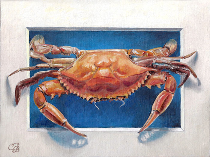 Crab Oil Painting  Trompe L'oeil