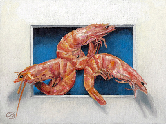 Shrimp Oil Painting  Trompe L'oeil
