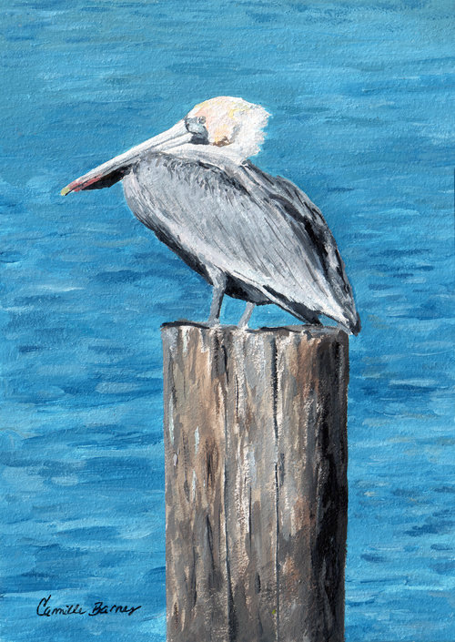 Pelican on a post  Oil Painting