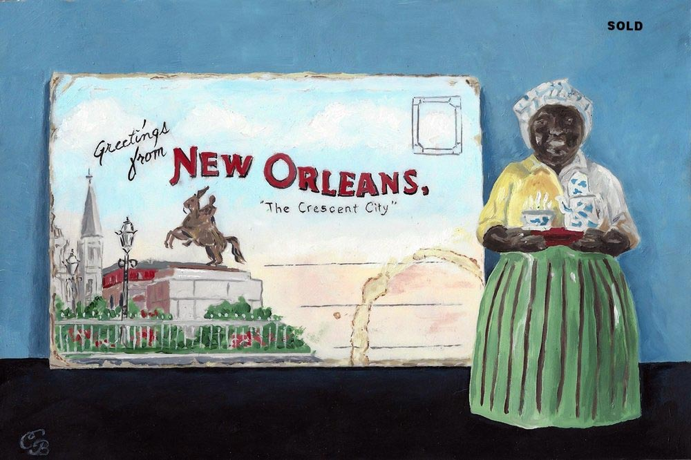 New Orleans Painting  Vintage Postcard & Mammy