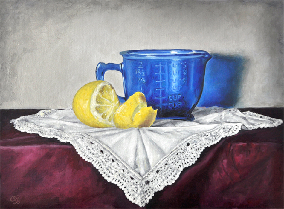 """Lemon and Blue""  Oil Painting"