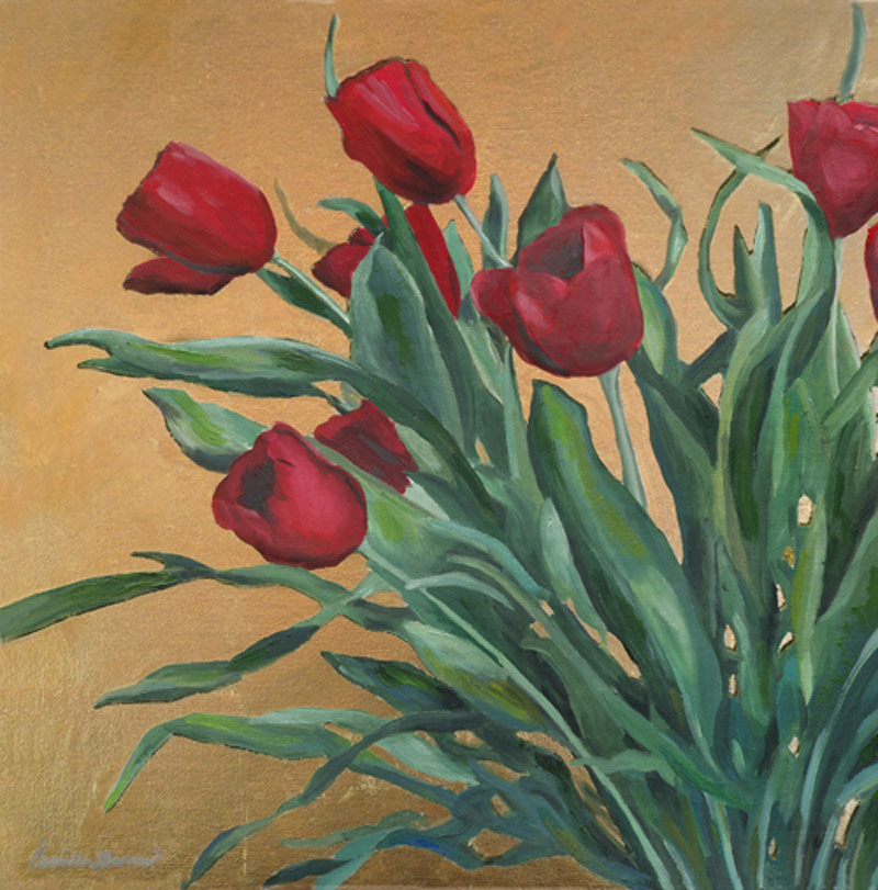 """Tulips""  Oil & 24K Gold Painting"