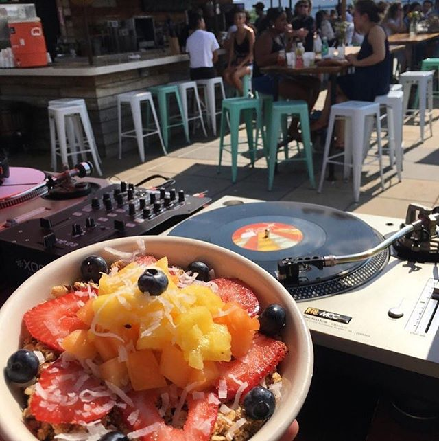 DJ @ 3pm | Brunch until 4pm  Come on down 📢 🍹 #rooftopweather ☀️ | 📸: @_marsweather